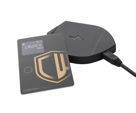 CoolWallet Bitcoin Wallet Card and Charger